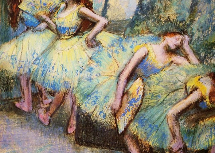 Pd Greeting Card featuring the painting Ballet Dancers In The Wings by Pg Reproductions