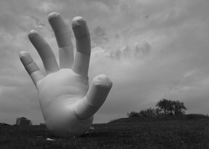 Hand Greeting Card featuring the photograph Balloon Hand by Nina Mirhabibi
