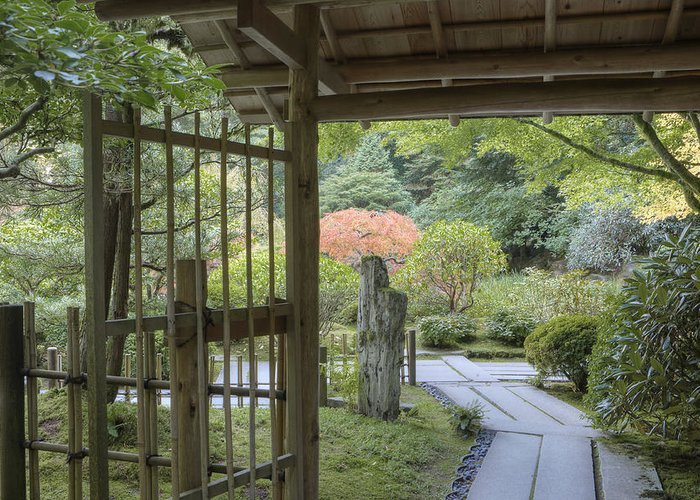 Mood Greeting Card featuring the photograph Bamboo Gate And Traditional Arch by Douglas Orton