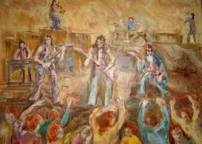 People Band Greeting Card featuring the painting Band 1 by Joseph Sandora Jr