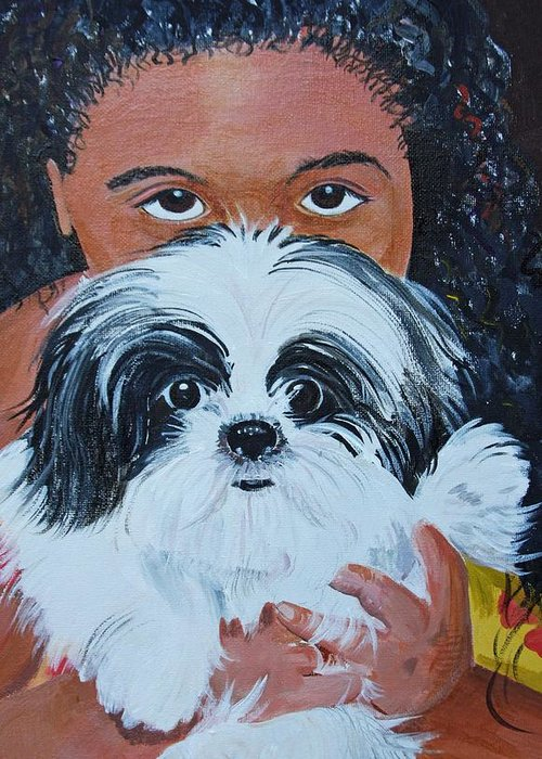 Pet And Owner Greeting Card featuring the painting Bandit And Me by Peggy Patti
