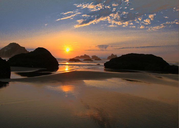 Scenic Greeting Card featuring the photograph Bandon Scenic by Jean Noren