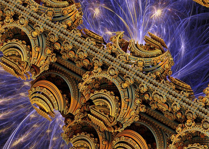 Space Greeting Card featuring the digital art Bangkok Palace by Pam Blackstone