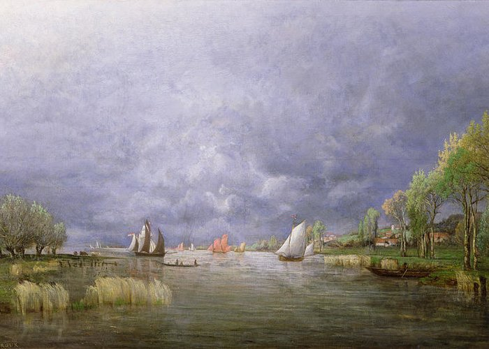 River; Landscape; Stormy; Flooded; Swollen; Village; Sailing Boats; Sky; Grey Greeting Card featuring the painting Banks Of The Loire In Spring by Charles Leroux