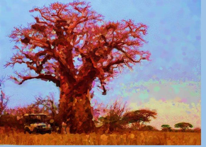 Baobab Tree Greeting Card featuring the digital art Baobab Tree by Asbjorn Lonvig