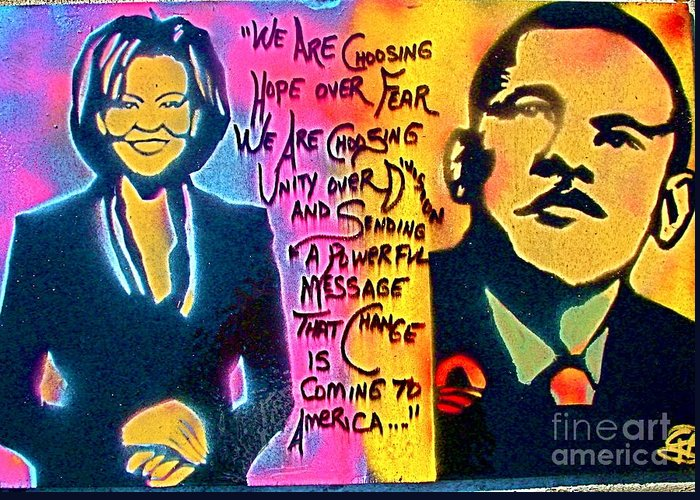 Barack Obama Greeting Card featuring the painting Barack And Michelle by Tony B Conscious