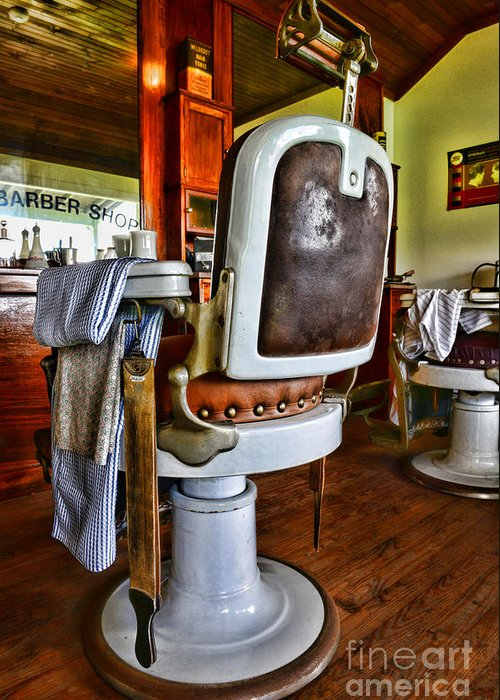 Barber - The Barber's Chair Greeting Card featuring the photograph Barber - Barber Chair by Paul Ward