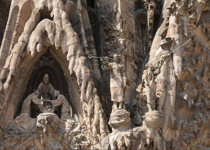Sagrada Familia Greeting Card featuring the photograph Barcelona Sagrada Familia Nativity Facade Detail by Matthias Hauser