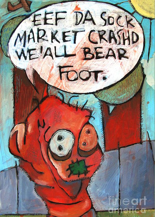 Stock Market Greeting Card featuring the painting Bare Feet by Charlie Spear