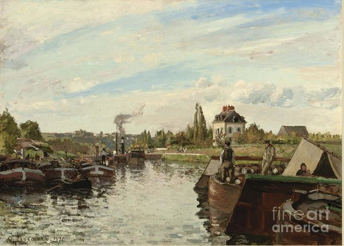 Barge On The Seine At Bougival Greeting Card featuring the painting Barge On The Seine At Bougival by Camille Pissarro