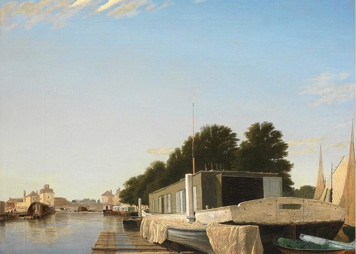 Boat Greeting Card featuring the painting Barges At A Mooring by Unknown
