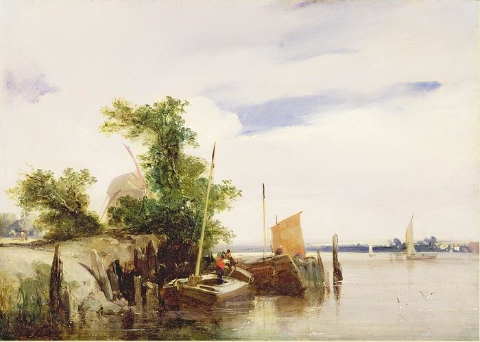 Xyc162466 Greeting Card featuring the photograph Barges On A River by Richard Parkes Bonington