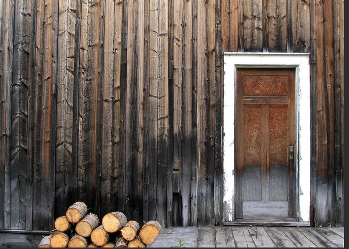 Firewood Greeting Card featuring the photograph Barkerville Back Porch by Calvin Wray