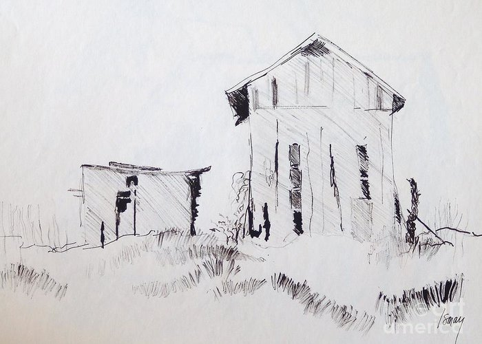 Barn Greeting Card featuring the drawing Barn And Shed by Rod Ismay