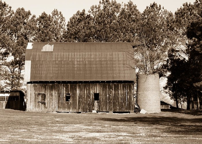 Barn Greeting Card featuring the photograph Barn And Silo 1 by Douglas Barnett