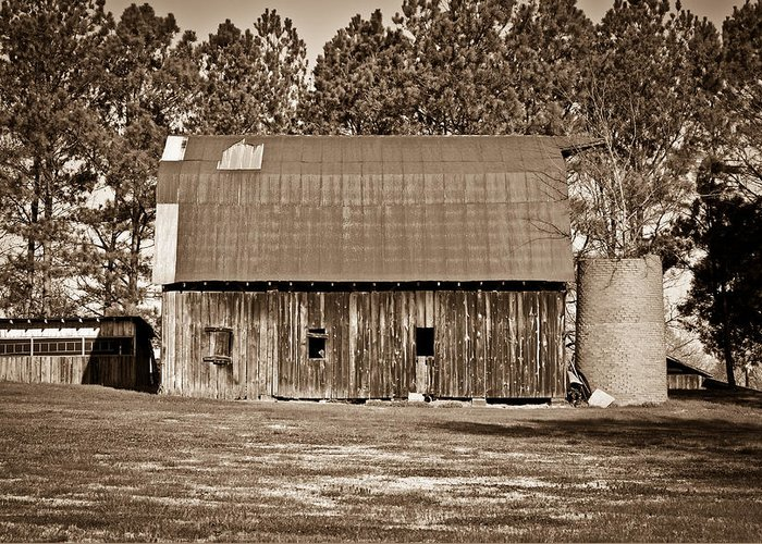 Barn Greeting Card featuring the photograph Barn And Silo 2 by Douglas Barnett