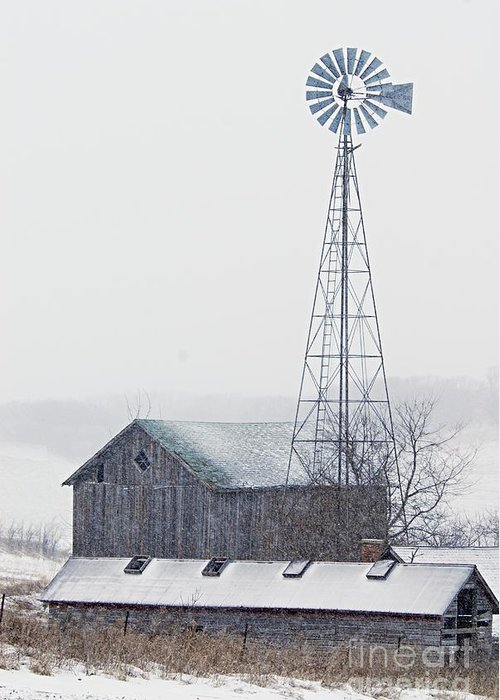 Photography Greeting Card featuring the photograph Barn And Windmill In Snow by Larry Ricker