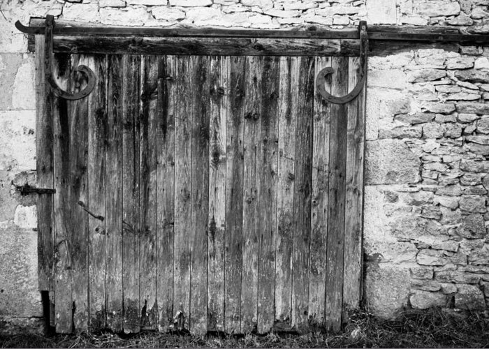 Black And White Greeting Card featuring the photograph Barn Door by Georgia Fowler