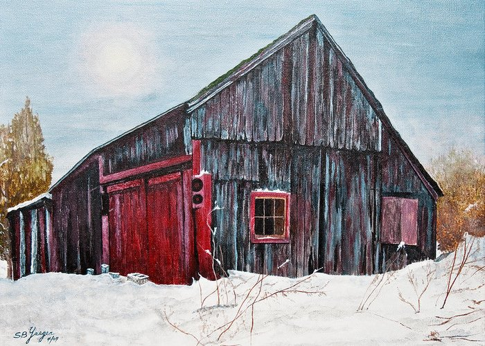 Greeting Card featuring the painting Barn In Snow Southbury Ct by Stuart B Yaeger
