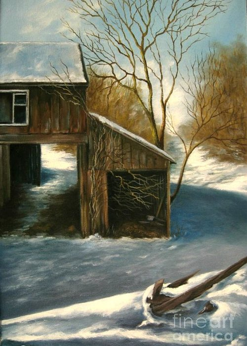 Barn Greeting Card featuring the painting Barn In The Snow by Patricia Lang