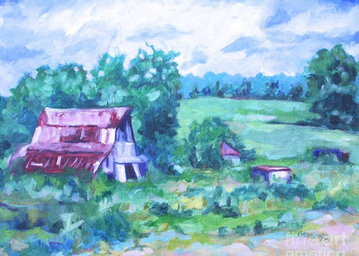 Landscape Greeting Card featuring the painting Barn by Jan Bennicoff