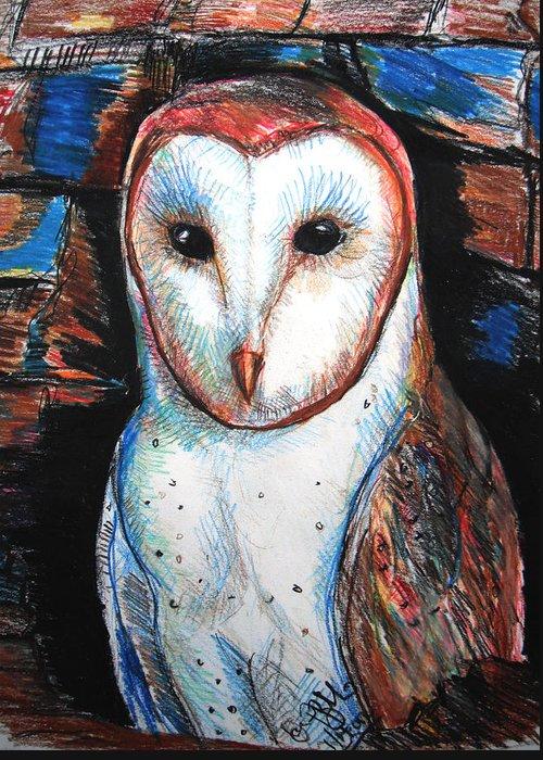 Barn Greeting Card featuring the drawing Barn Owl by Jon Baldwin Art