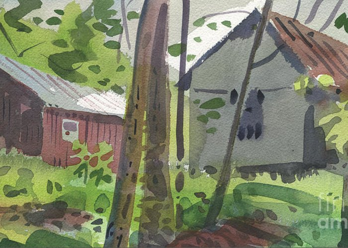 Barn Greeting Card featuring the painting Barns 12 by Donald Maier