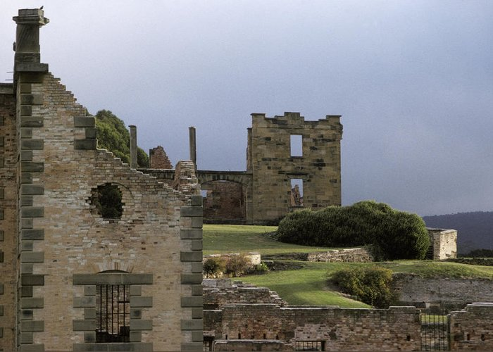 Port Arthur Penal Settlement Tasmania Australia Greeting Card featuring the photograph Barred Windows And Stone Ruins At Port by Jason Edwards
