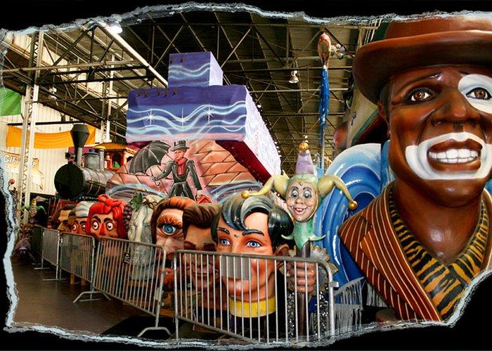 Mardi Gras World Greeting Card featuring the photograph Barricade Heads by Linda Kish