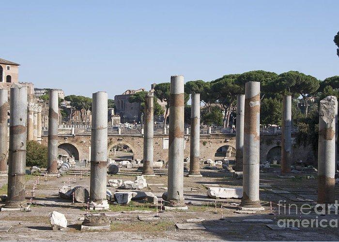 Worth Greeting Card featuring the photograph Base Of Trajan's Column And The Basilica Ulpia. Rome by Bernard Jaubert