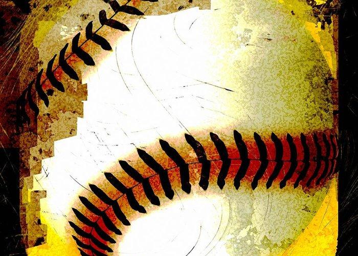 Baseball Greeting Card featuring the digital art Baseball Abstract by David G Paul