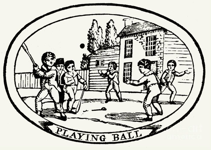 1820 Greeting Card featuring the photograph Baseball Game, 1820 by Granger