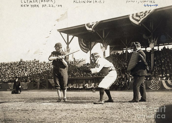 1909 Greeting Card featuring the photograph Baseball Game, 1909 by Granger