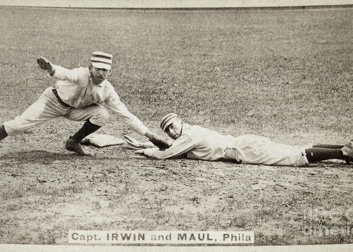 1887 Greeting Card featuring the photograph Baseball Game, C1887 by Granger