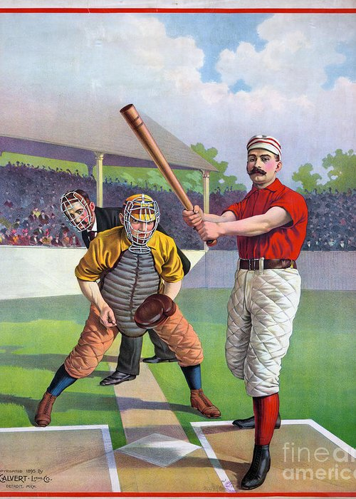 1895 Greeting Card featuring the photograph Baseball Game, C1895 by Granger