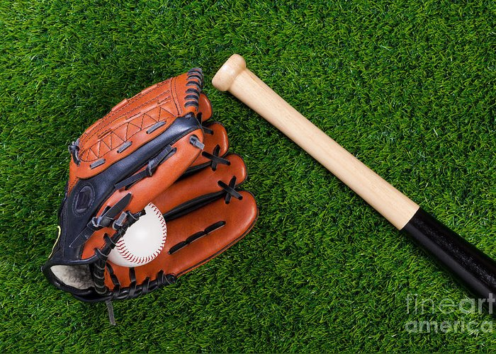 Baseball Glove Greeting Card featuring the photograph Baseball Glove Bat And Ball On Grass by Richard Thomas