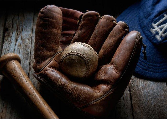 Baseball Greeting Card featuring the photograph Baseball Glove by Bob Nardi