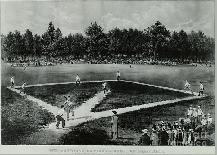 Baseball Greeting Card featuring the photograph Baseball In 1846 by Omikron