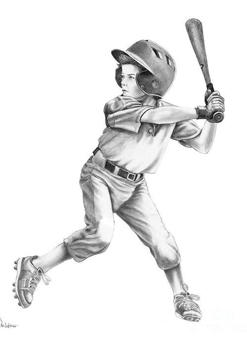 Drawing Greeting Card featuring the drawing Baseball Kid by Murphy Elliott