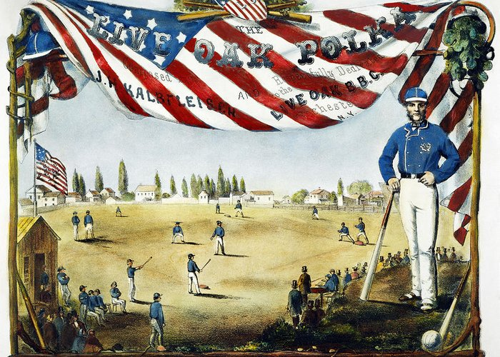 1860 Greeting Card featuring the photograph Baseball Song Sheet, 1860 by Granger