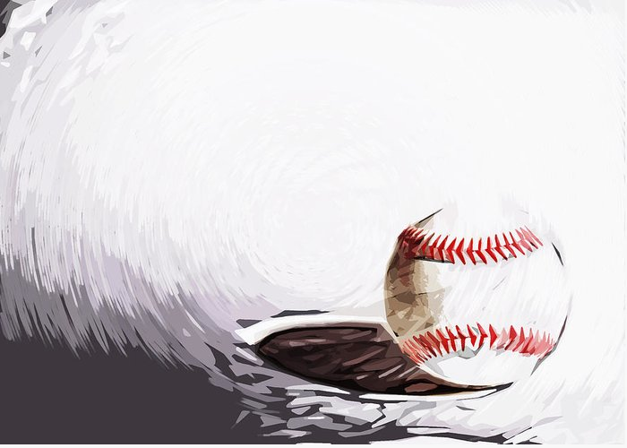 Baseball Greeting Card featuring the digital art Baseball by Tilly Williams