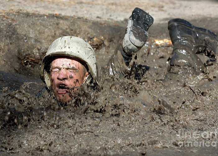 Academy Greeting Card featuring the photograph Basic Cadet Trainees Attack The Mud Pit by Stocktrek Images