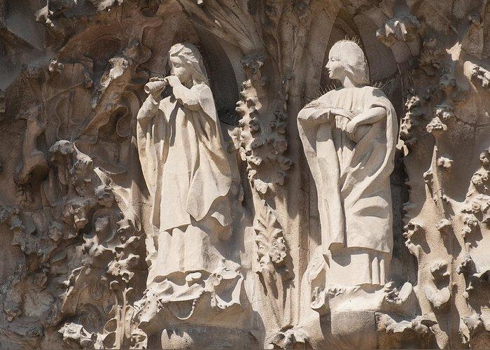 Sagrada Familia Greeting Card featuring the photograph Basilica Sagrada Familia Nativity Facade Detail by Matthias Hauser
