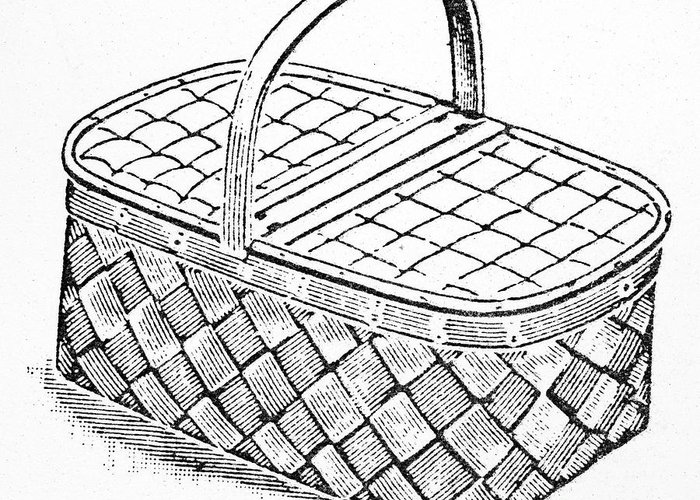 19th Century Greeting Card featuring the photograph Basket, 19th Century by Granger