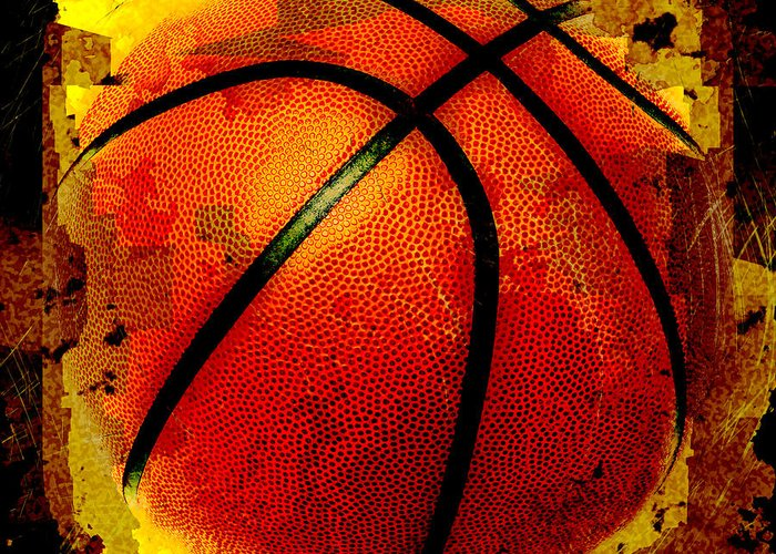 Basketball Greeting Card featuring the digital art Basketball Abstract by David G Paul
