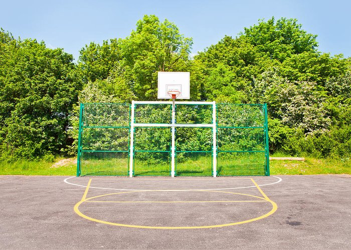 Athletes Greeting Card featuring the photograph Basketball Court by Tom Gowanlock