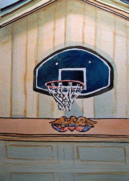 Basketball Greeting Card featuring the painting Basketball Hoop Sketchbook Project Down My Street by Irina Sztukowski