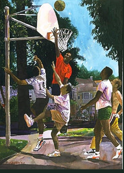 Sports Greeting Card featuring the painting Basketball Players by Jim Gleeson