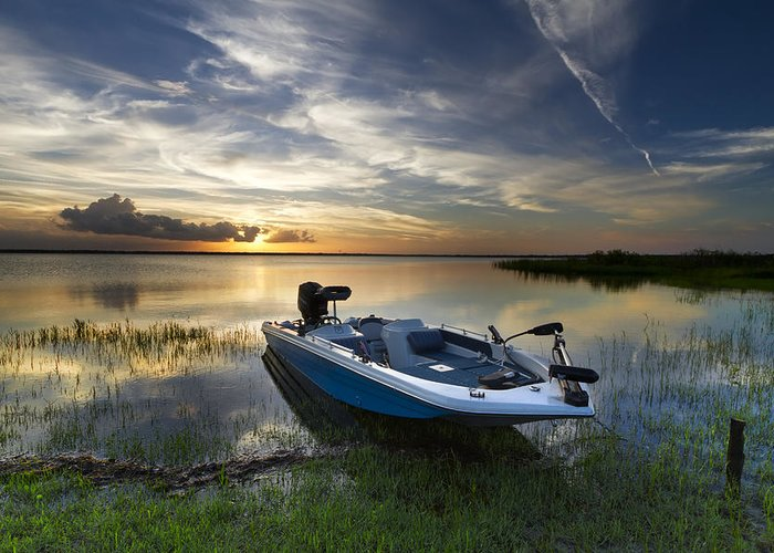 Boats Greeting Card featuring the photograph Bass Fishin' Evening by Debra and Dave Vanderlaan