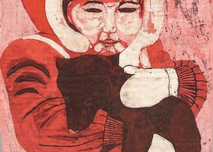 Fabric Greeting Card featuring the painting Batik -girl W Bear- by Lisa Kramer